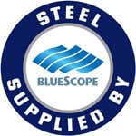 Steel Supplied by Bluescope Steel Logo